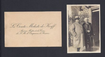 Count Modeste de Korff Calling Card & Sir George Buchanan Photo Tsar Nicholas II